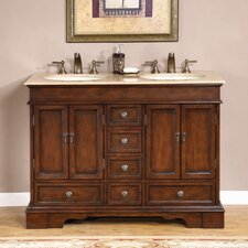 "<strong>Silkroad Exclusive</strong> Bradford 48"" Bathroom Double Sink Cabinet Vanity Set"