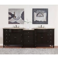 "<strong>Silkroad Exclusive</strong> Hamilton 95"" Double Bathroom Vanity Set"