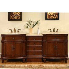 "<strong>Silkroad Exclusive</strong> Sophia 80"" Double Sink Bathroom Vanity Set"
