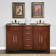 "<strong>Silkroad Exclusive</strong> Cambridge 58"" Double Sink Bathroom Vanity Set"