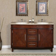 "<strong>Silkroad Exclusive</strong> Cambridge 55"" Double Sink Bathroom Vanity Set"