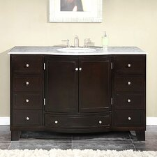 "<strong>Silkroad Exclusive</strong> Naomi 55"" Single Sink Cabinet Bathroom Vanity Set"