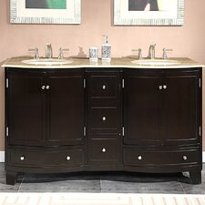 "<strong>Silkroad Exclusive</strong> Naomi 60"" Double Sink Cabinet Bathroom Vanity Set"