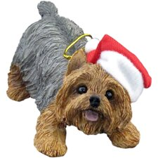 Crouching Yorkshire Terrier Christmas Ornament