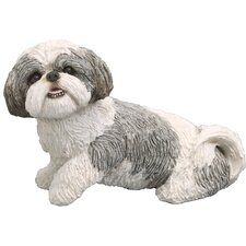 Mid Size Playful Shih Tzu Sculpture in Silver / White