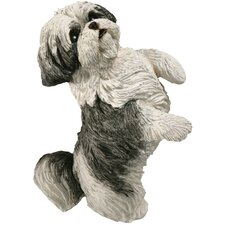 Small Size Begging Shih Tzu Sculpture in Silver / White