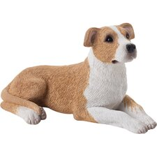 Small Size Pit Bull Terrier Sculpture in Fawn / White