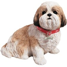 Life Size Sitting Shih Tzu Sculpture in Gold / White