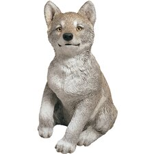 Life Size Wolf Pup Sculpture in Gray