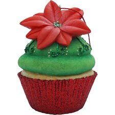 Poinsettia Cupcake Christmas Tree Ornament