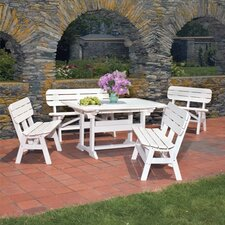 <strong>Seaside Casual</strong> Portsmouth 5 Piece Bench Dining Set