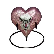 Medium Pink Rose Brass Heart Adult Urn