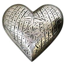 Silver Flower Heart Keepsake Urn