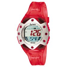 Midsize Plastic Digital Watch in Red Translucent and Silver