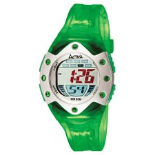 Midsize Plastic Digital Watch in Green Translucent and Silver