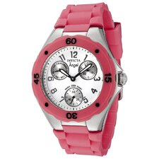 Women's Angel Watch in White Dial Pink Silicon