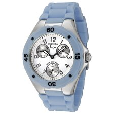 Women's Angel White Dial Watch in Baby Blue Silicone