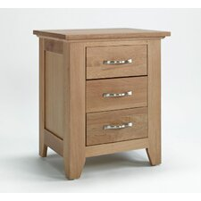 Highclere Oak 3 Drawer Bedside Table