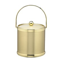 3 Qt. Ice Bucket with Polished Brass Lid and Metal Side Handles