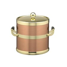 Ice Bucket with Polished Brass Lid and Wood Side Handles