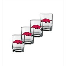 Collegiate 14 oz. Arkansas Glass (Set of 4)