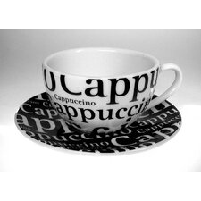 Coffee Bar No.4 Writing Cappuccino Cup and Saucer (Set of 4)