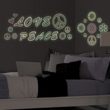 Peace Love Flowers Glow in the Dark Wall Decal Kit
