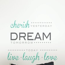 Wall Art Cherish Dream Live Wall Quote Decal