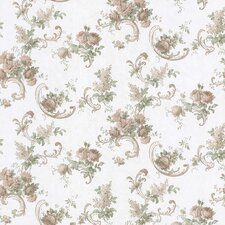 <strong>Brewster Home Fashions</strong> Satin Rose Floral Scroll Embossed Wallpaper