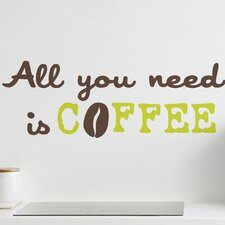 <strong>Brewster Home Fashions</strong> Euro All You Need Is Coffee Quote Wall Decal