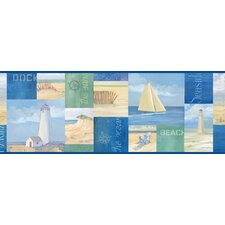 Borders by Chesapeake Nantucket Coastal Breeze Collage Border Wallpaper