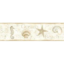 Sand Dollar Island Bay Seashells Border Wallpaper