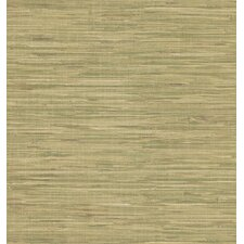 Destinations by the Shore Faux Grasscloth Wallpaper in Beige Green