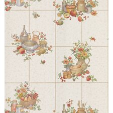 Kitchen and Bath Resource II Tile with Food and Floral Print Wallpaper