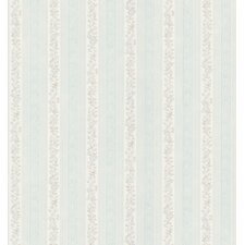 Kitchen and Bath Resource II Small-Scale Floral Scroll Stripe Wallpaper