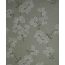 Verve Blossom Wallpaper in Lightened Gray