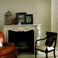 Echo Design Echo Damask Wallpaper in Cream / Light Silver