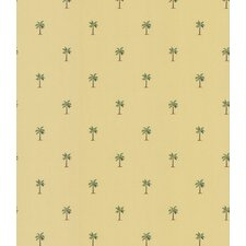 Destinations by the Shore Palm Tree Print Wallpaper in Sunny Yellow