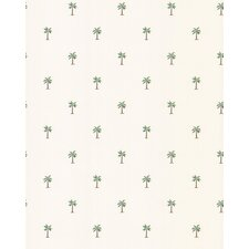 Destinations by the Shore Palm Tree Print Wallpaper in White