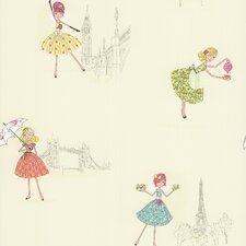 <strong>Brewster Home Fashions</strong> Kids World Fairy Tea Time European Party Wallpaper