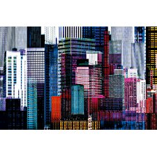 Ideal Decor Colorful Skyscrapers Wall Mural