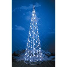 <strong>Homebrite Solar</strong> String Light Christmas Cone Tree in White