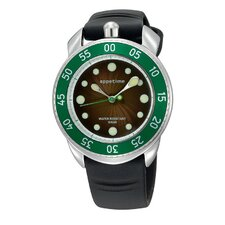 Ripplio Watch with Black Band and Green Bezel