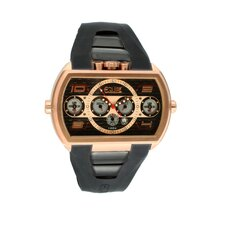 Dash XXL Men's Watch with Rose Gold Case and Black Dial