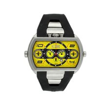 Dash XXL Men's Watch with Silver Case and Yellow Dial
