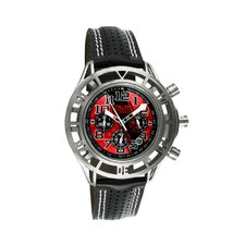 Mustang Boss 302 Mens Watch with Chrome Case and Red Dial