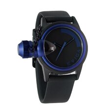 Bulletor Men's Watch in Black with Blue Bezel
