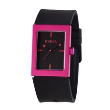 Ruta Men's Watch in Black with Hot Pink Bezel