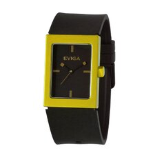 Ruta Men's Watch in Black with Yellow Bezel