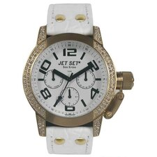 San Remo Dame Ladies Watch with White Dial and Gold Crystal Bezel